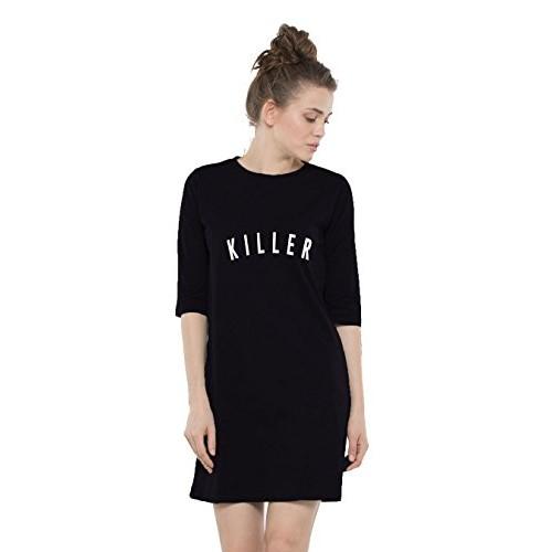 Killer Black Printed Cotton 3/4 Sleeves T-Shirt Dress