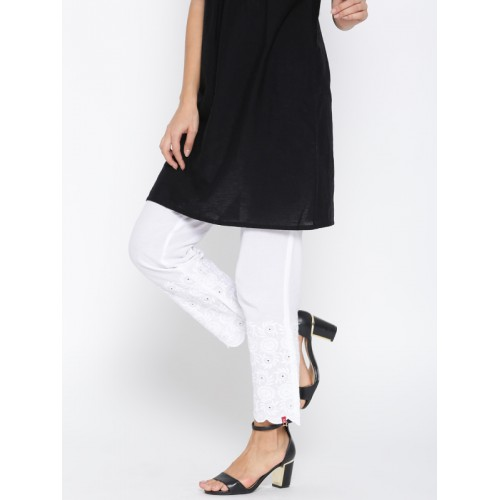 Biba Women White Embroidered Detail Ethnic Trousers