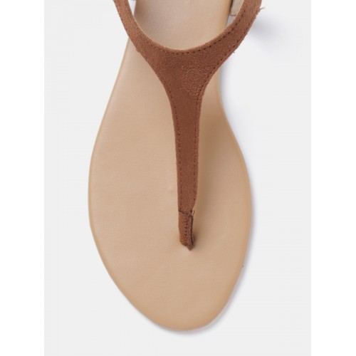 Dressberry Brown  Solid T-Strap Sandals