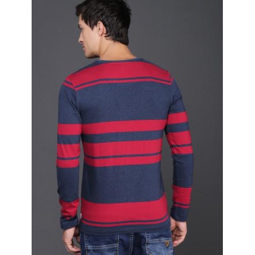 WROGN Men Red Striped Round Neck T-shirt