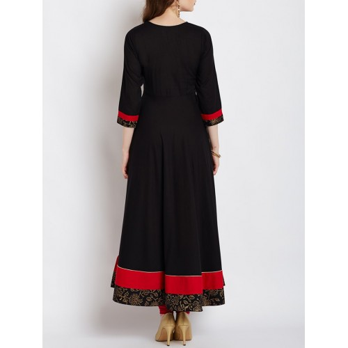 AGROHA Black Solid Anarkali Kurta