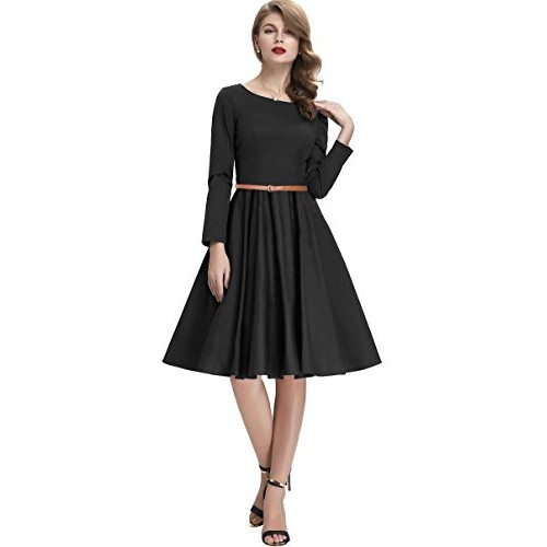 af5ef4dbc02b ... Solid Black American Crepe Full sleeve Party wear waist Belt Knee  Length Dress ...