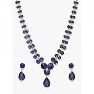 Jewels Galaxy Navy Blue Brass Necklace Set