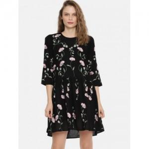 Vero Moda Women Black Embroidered A-Line Dress