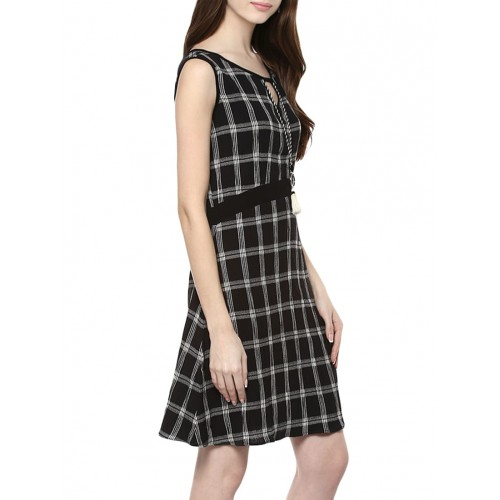 TAURUS black cotton a-line dress