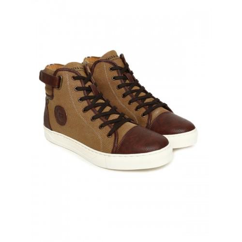45c69670d8bdf1 ... Jack & Jones Men Brown Solid Canvas STRADA High-Top Sneakers ...