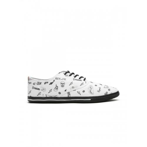 Jack & Jones Men White Printed Sneakers