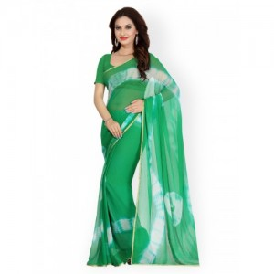 Ishin Green & White Faux Georgette Tie-Dyed Print Saree