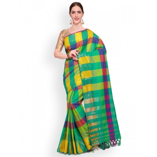 Saree mall Green & Yellow Silk Blend Printed Mangalagiri Saree