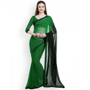 Mirchi Fashion Green & Black Poly Georgette Polka Dot Print Saree