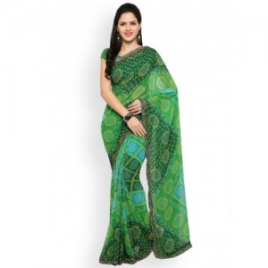 Blissta Green Bandhani Printed Poly Georgette Saree