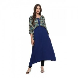 Lafirangi Blue Cotton Casual Anarkali Kurta