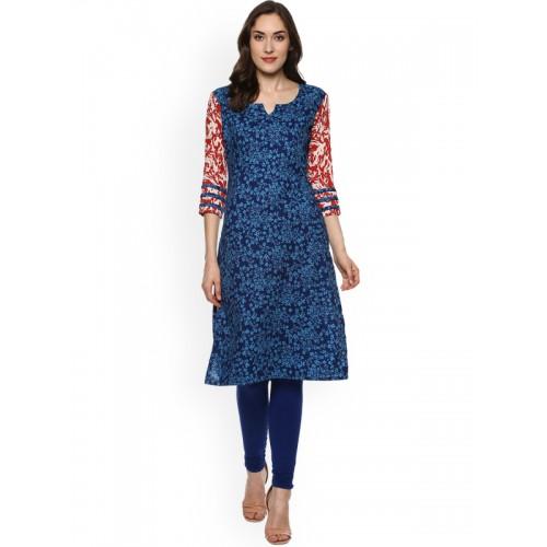 La Firangi blue cotton straight kurta