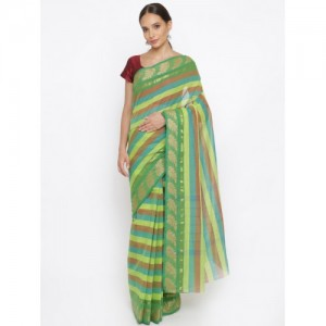 The Chennai Silks Green & Blue Pure Cotton Striped Saree