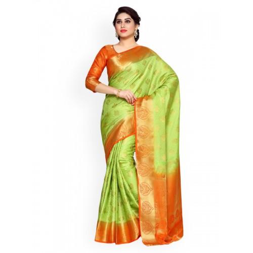 376973b1350875 Buy MIMOSA Lime Green Art Silk Woven Design Kanjeevaram Saree online ...