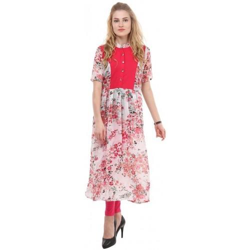4cb6534b98c Buy La Firangi Pink Floral Georgette Kurta online