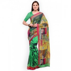 Blissta Green & Black Poly Georgette Printed Saree