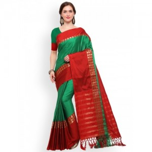 Blissta Green & Red Silk Cotton Woven Design Saree