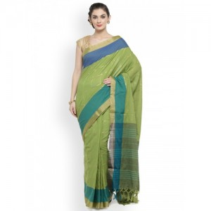 Kvsfab Green Woven Design Silk Cotton Saree