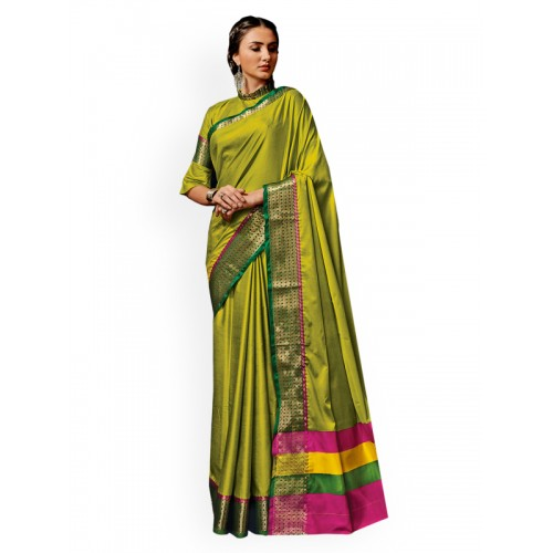 1a625d3660 Buy Ishin Green Woven Design Cotton Blend Saree online   Looksgud.in