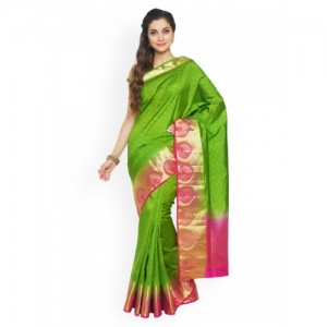 Sudarshan Silks Green & Pink Silk Blend Woven Design Saree