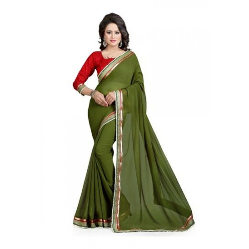 92e77a84996a0 Buy Vastra Green Solid Bollywood Georgette Saree online