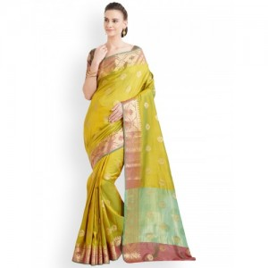 Viva N Diva Green Silk Blend Woven Design Banarasi Saree