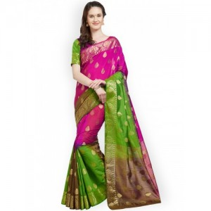 Viva N Diva Pink & Green Silk Blend Colourblocked Banarasi Saree