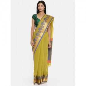 The Chennai Silks Olive Green Silk Cotton Woven Design Narayan Peth Saree