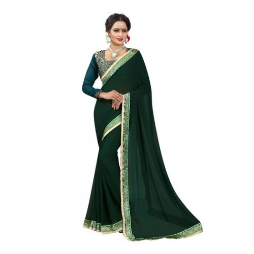 39827a6ee9510 Buy Vastra SOLID BOLLYWOOD GEORGETTE SAREE (GREEN) online