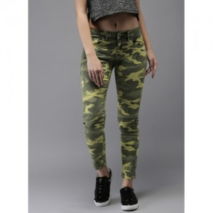 Moda Rapido Olive Mid Rise Skinny Fit Jeans