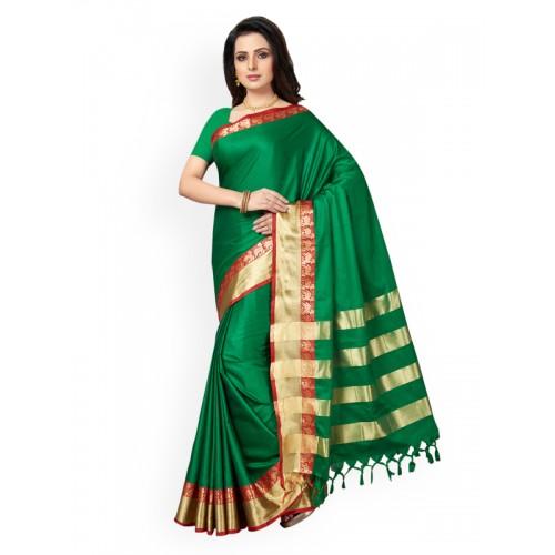 c6ac0dbc8b Buy Ishin green cotton blend bordered saree with blouse online ...