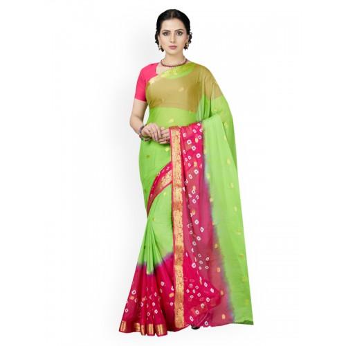 Ishin green chiffon bandhani saree with blouse