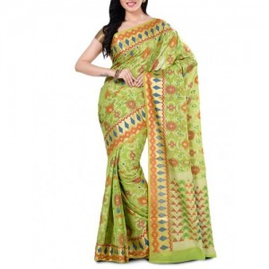 Bunkar green cotton blend woven saree with blouse