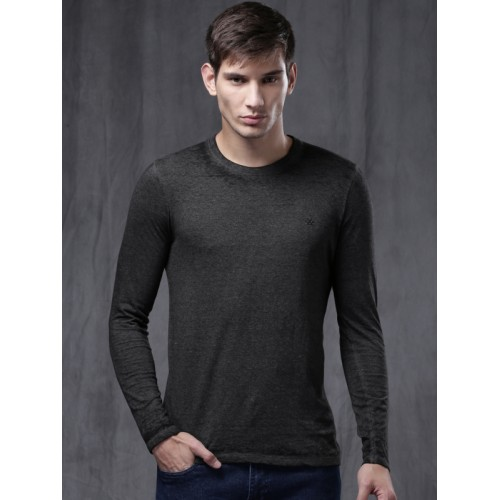 Wrogn Charcoal Grey Solid Slim Fit Round Neck T-Shirt