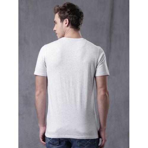 01f8d6d39e91 ... WROGN Men Light Grey Melange High-Density Print Round Neck T-shirt ...