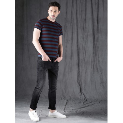 WROGN Men Maroon Striped Round Neck T-shirt
