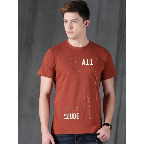 6f7f02f63124 Buy WROGN Men Rust Red Printed Slim Fit Round Neck T-shirt online ...
