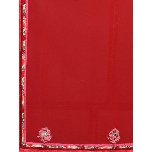 Indian Women By Bahubali red georgette half and saree with blouse