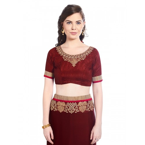 Indian Women By Bahubali maroon georgette embroidered saree with blouse