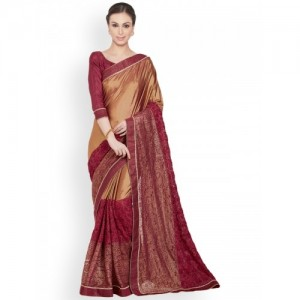 Indian Women By Bahubali Golden & maroon embroidered saree with blouse