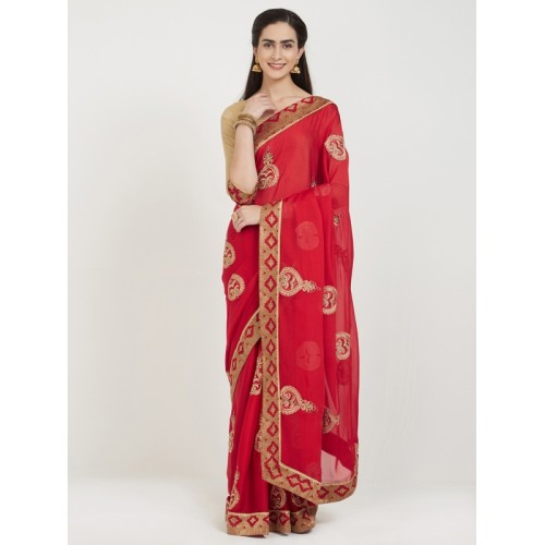Indian Women By Bahubali red chiffon embroidered saree with blouse
