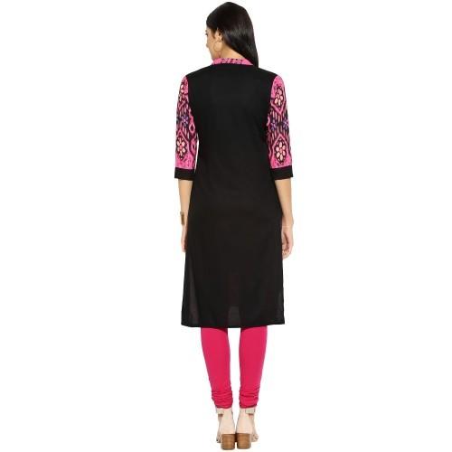 Rayon & Viscose Black Printed Stitched Straight Kurti - 900298B