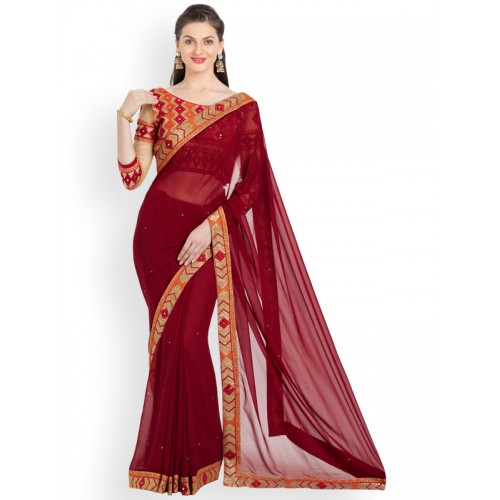 Indian Women By Bahubali red georgette bordered saree with blouse