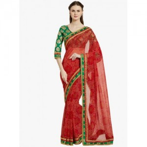 Indian Women By Bahubali red georgette bandhani saree with blouse