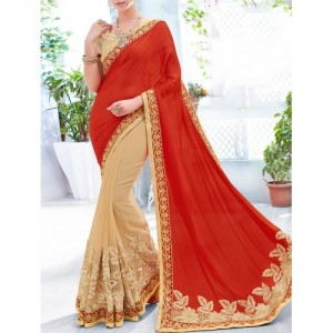 Indian Women By Bahubali red & beige georgette embroidered half and half saree with blouse