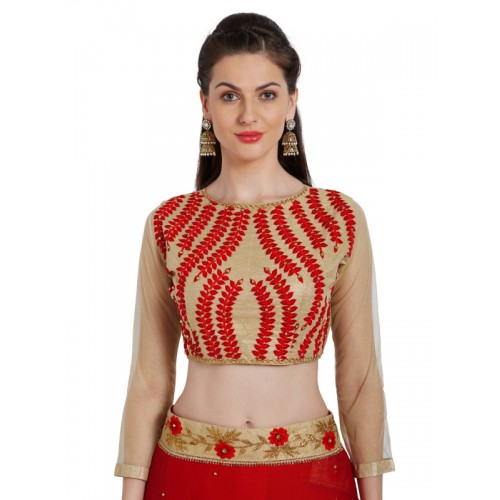 Indian Women Red Solid Poly Chiffon Saree
