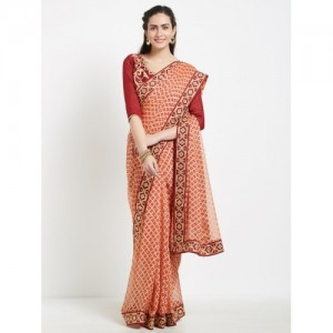 Indian Women Maroon & Beige Net Embellished Saree
