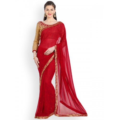 Indian Women Red Embellished Pure Georgette Saree