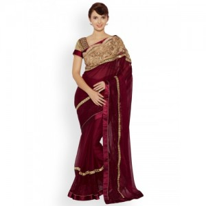 Indian Women Maroon Embellished Poly Chiffon Saree